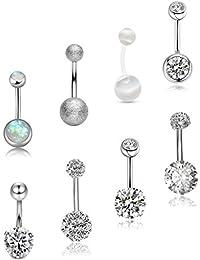 SEVENSTONE 8PCS Stainless Steel Belly Button Rings for Girls Women Screw Navel Piercing Bars Body Jewelry