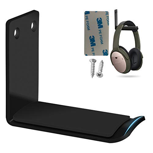 Headphone Holder Stand, Earphone Headphone Headset Wall Mount Desk Hanger Hook Stand for Clamp with 3M Adhesive and Screw XINME (Black Wall Mount)