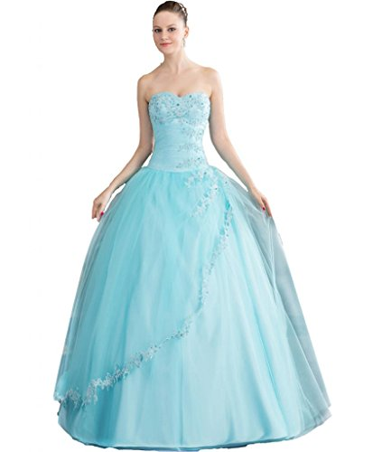 ASBridal Sweetheart Appliqued Tulle Long Prom Dress Ball Gowns Quinceanera Dresses Blue US - Mall Wichita