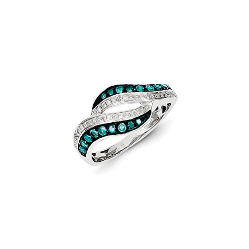 .47 Cttw (I2-I3 clarity) Blue&H-I White Diamond Swirl Tapered Ring in Sterling Silver