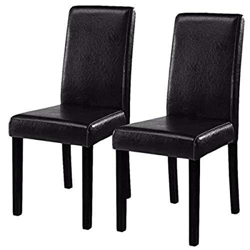 Costway Set of 2 Parson Chairs Elegant Design Leather Modern Dining Chairs Dining Room Kitchen Furniture Urban Style Solid Wood Leatherette Padded Seat (Black)