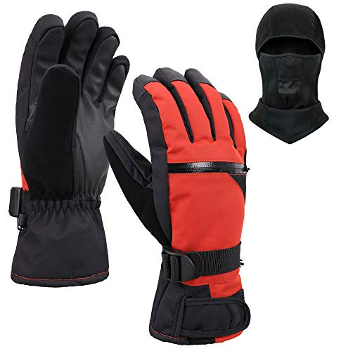 Jasmine Ski Gloves and Balaclava,Winter Warm 3M Insulation Waterproof Snow Gloves and Face Mask for Skiing, Snowboarding, Motorcycling, Cycling, Outdoor Sports,S