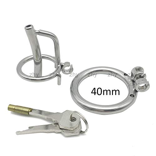 Hot Shirt Public Procrastinate Rings Newest Stealth Lock Stainless Steel Male Chástí-ty Device Super All Cage Male Virginity Lock Ring Chástí-ty Belt S024,40mm ()