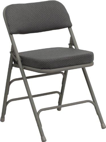Flash Furniture HERCULES Series Premium Curved Triple Braced & Double Hinged Gray Fabric Metal Folding Chair
