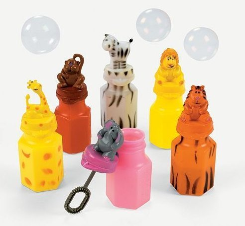 RI Novelty Zoo Animal Jungle Characters Bubble Bottles
