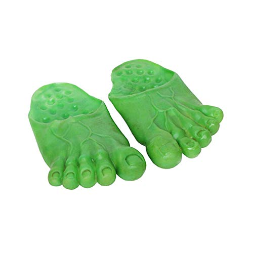 Men Outdoor Slipper - Hulk Slippers Soft Bottom Male Big Foot Party Shoes Funny Halloween Shoescover Show Cosplay Props - Party Decorations Party Decorations Flip Flop Size Hulk Balloon Confet]()