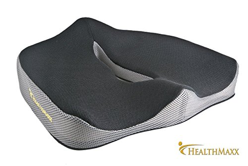 HealthMaxx Coccyx Seat Cushion | Orthopedic Memory Foam Pillow | Lower Back Lumbar Pain Relief | Tailbone Sciatica Sacrum Degenerating Disc | Office Chair Car Airplane Seats by HealthMaxx