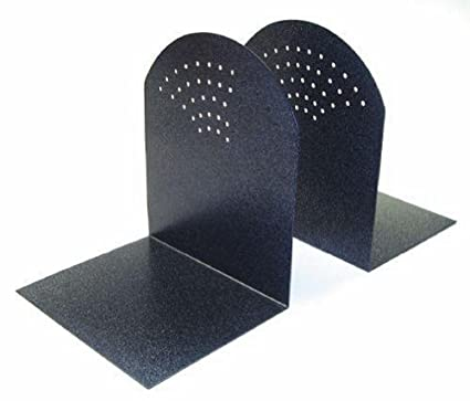 STEELMASTER Fan Hole Pattern Steel Bookends, 1 Pair, 5.94 x 7 x 5 Inches, Granite (295A3) MMF Industries
