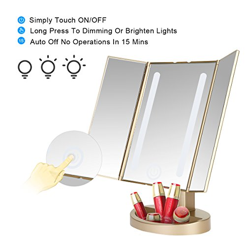 leju makeup mirror natural daylight lighted vanity mirror with touch screen dimming. Black Bedroom Furniture Sets. Home Design Ideas