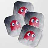 Society6 Drink Coasters, Pac-Man Red Ghost by psocy, set of 4