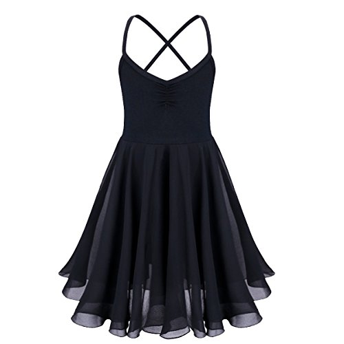 - Freebily Girls Camisole Empire Waist Gymnastic Leotard Lyrical Ballet Dance Skirt Chiffon Dress Dancing Ballerina Costumes Black 10-12