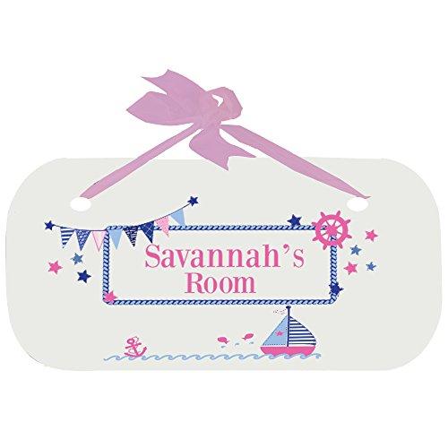 Personalized Pink Sailboat Door Hanger Plaque