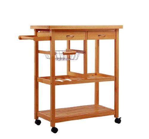 Roots Rack Kitchen Cart Pine: Portable Pine Wood Rolling Storage Cart Kitchen Trolley