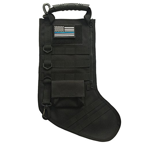 SPEED TRACK Tactical Christmas Xmas Stocking with Handle, Perfect Mantel Decoration, Gift for Veterans and Outdoorsy People (Black)