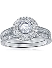 Womens Gift Bridal Set Brilliant Round Cubic Zirconia 925 Sterling Silver Wedding Band Engagement Ring 2PC Size 5-10 Promise Anniversary Jewelry