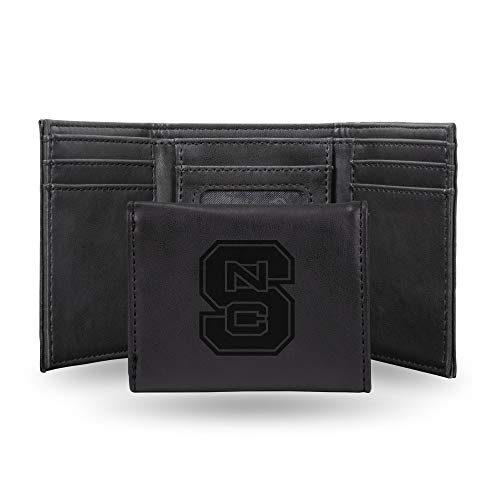 Rico Industries NCAA North Carolina State Wolfpack Laser Engraved Tri-Fold Wallet, Black ()