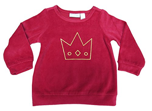 First Impressions Sweater - First Impressions Baby Girls' Velour Crown Top Tango Red 24 Months