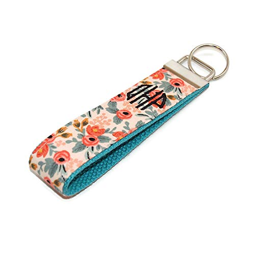 (Monogrammed Floral with Mint and Coral Keychain Personalized Fabric Key Fob Free Shipping)
