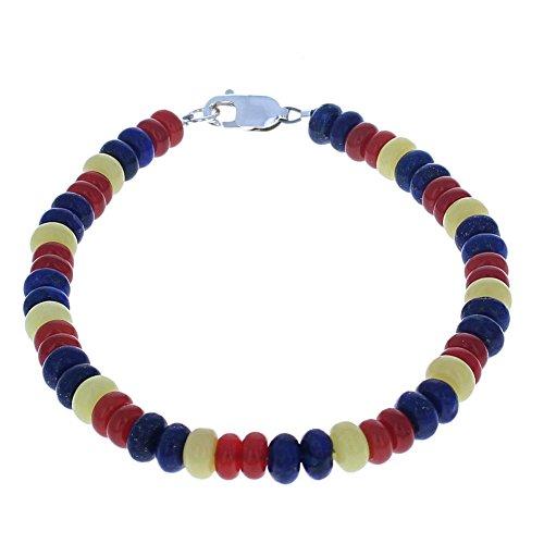 Carnelian, Serpentine & Lapis-Lazuli Mens Beaded Bracelet - (Serpentine Bracelet)