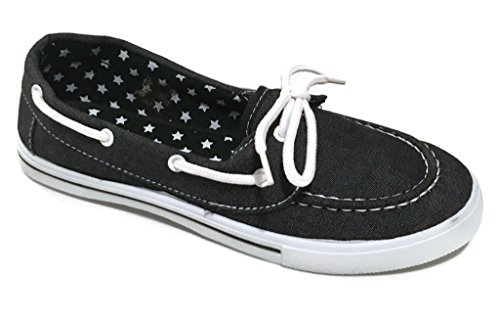Delight Canvas Lace Up Flat Slip On Boat Comfy Round Toe Sneaker Tennis Shoe Black Denim MSrOOhh