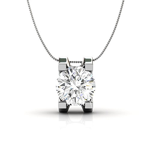 (Cate & Chloe Clara Bright Solitaire Pendant Necklace, Women's 18k White Gold Plated Necklace with a Sparkling Solitaire Round Cut Swarovski Crystal, Silver Pendant Necklace for Women)