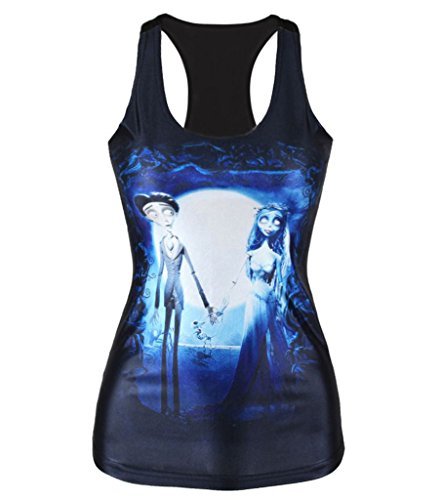 [Longwu Sexy Women's Digital Printed Sleeveless Summer Tank Tops Lovers, One Size] (Celebrities To Dress Up As)
