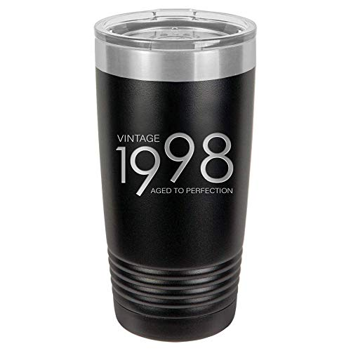 1998 21st Birthday Gifts for Men and Women Black 20 oz Insulated Stainless Steel Tumbler | 21 Year Old Presents | Mom Dad Wife Husband Present | Party Decorations Supplies Anniversary Tumblers Gift th