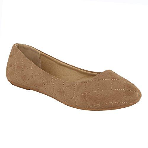 Guilty Schuhe Damen Comfort Round Toe Slip auf Ballett Wohnungen Schuhe Wohnungen 12 Taupe Wildleder