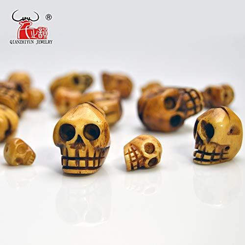 Calvas Handmade Carved Yak Bone Beads, Skull Antique Beads for Halloween Jewelry Making, Brown, 20x21/15x16/12x13/9x10mm, Hole: 2mm - (Item Diameter: 9x10mm)