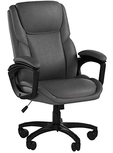 Luxurious Executive Office Chairs, High-Back Leather Computer Desk Chairs with Flexible Rocking System and Massy Handrail with Padded (R-Grey)