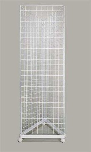 White Finished Triangle Grid Tower with Casters 24'' x 24'' x 24'' x 6-1/2' Tall 24' Triangle