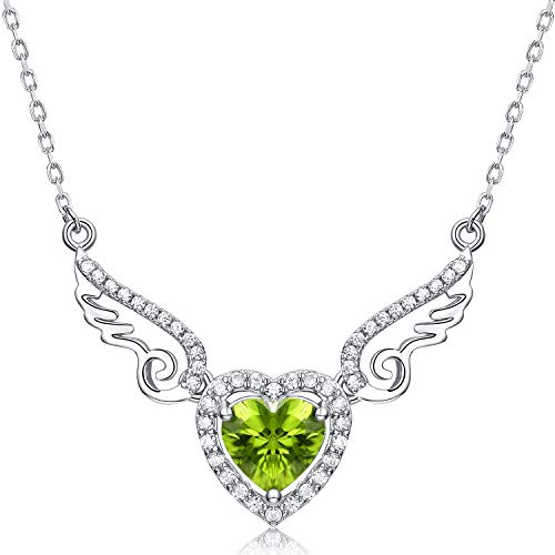 Fine Jewelry Gift for Women 925 Sterling Silver Natural Gemstone Pendant Necklace Heart Love Angel Wings Peridot ()