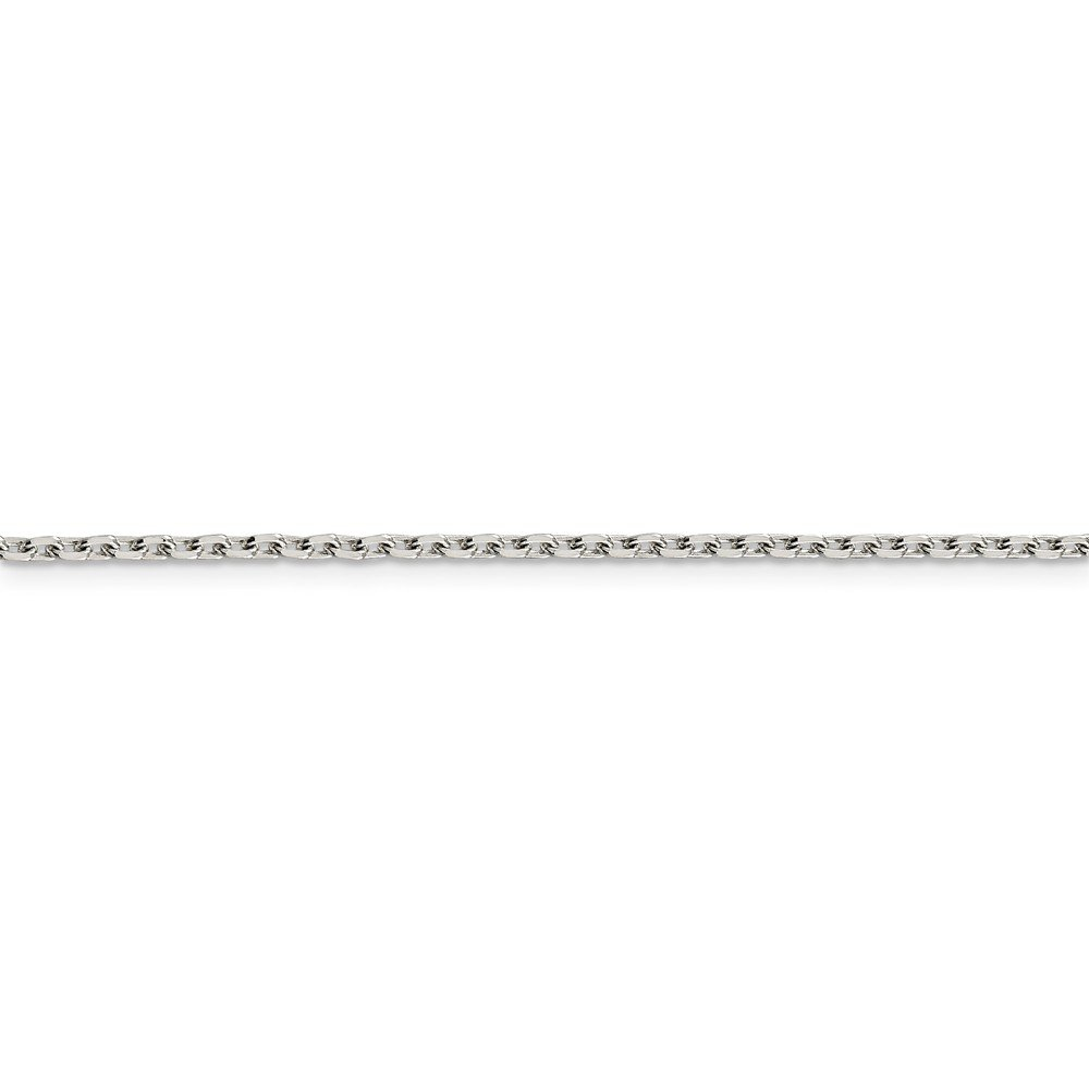 Solid 925 Sterling Silver 2mm Beveled Oval Cable Chain Necklace