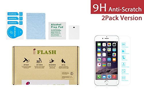 """iFlash 2 Pack of Premium Tempered Glass Screen Protector For Apple iPhone 6 Plus 5.5"""" Model (iPhone 6 Plus 5.5inches Model)- Protect Your Screen from Scratches and Bubble Free - Maximize Your Resale Value - 99.99% Clarity and Touchscreen Accuracy (2Pack, Retail Package)"""