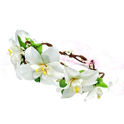 Love Sweety Bride Flower Crown with Adjustable Ribbon