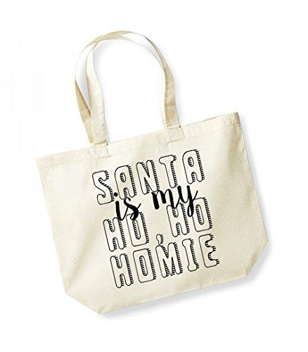Natural Print Santa Unisex Homie Cotton black Kelham My Is Bag Canvas Slogan Ho Tote Z7w5q04d
