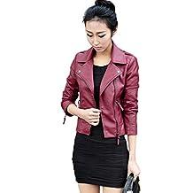 Women's Plus Size Slim Lapel Faux Leather Biker Motorcycle Zipper Jacket Coat