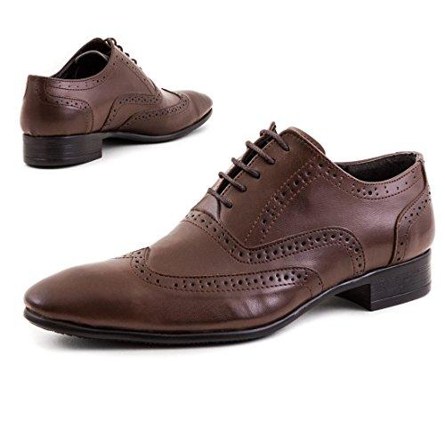 Elegante Herren Business Anzug Schnür Halbschuhe in hochwertiger Lederoptik Z-Braun