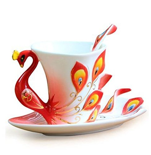 Fine Arts China Porcelain/Franz Tea/Coffee Cup with Saucer and Spoon, Red, Peacock Theme Romantic Creative Present