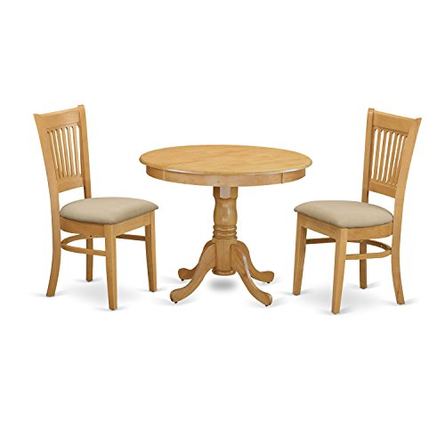 East West Furniture ANVA3-OAK-C 3 Piece Kitchen Table and 2 Chairs Set