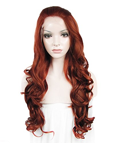 Imstyle Popular Reddish Auburn Hair Celebrities 350 Lace Front Wig for White Women (Reddish Auburn)