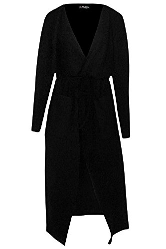 Womens Ladies Belted Wrap Over Pocket Duster Trench Coat Midi Len Long Cardigan