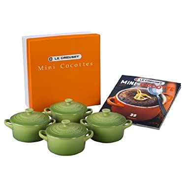 Le Creuset Set of 4 Mini Cocottes with Cookbook, Palm