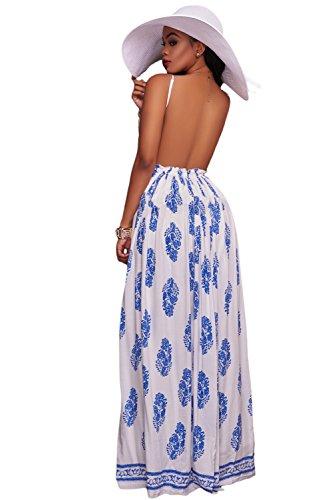Neue Damen weiß amp; blau Leaf Print Open Back Crochet Mieder Maxi ...