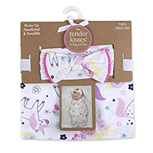Soft Cotton Baby Swaddle Wrap Blanket with Matching Hat or Headband Cap Set for Newborns and Infants