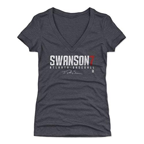500 LEVEL Dansby Swanson Women's V-Neck Shirt Large Tri Navy - Atlanta Baseball Women's Apparel - Dansby Swanson Swanson7 W WHT