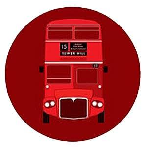 alfombrilla de ratón símbolo de Londres - icono del autobús rojo - de dos pisos - vector - ronda - 20cm