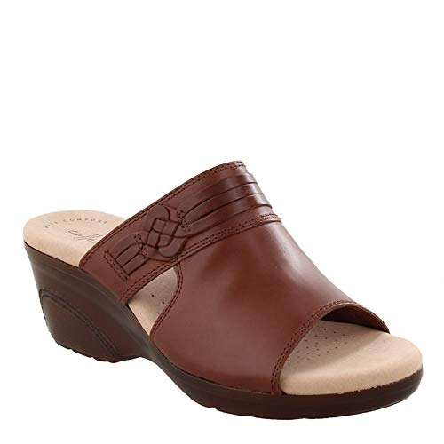 (CLARKS Women's Lynette Trudie Sandal, Mahogany Leather, 080 W US)