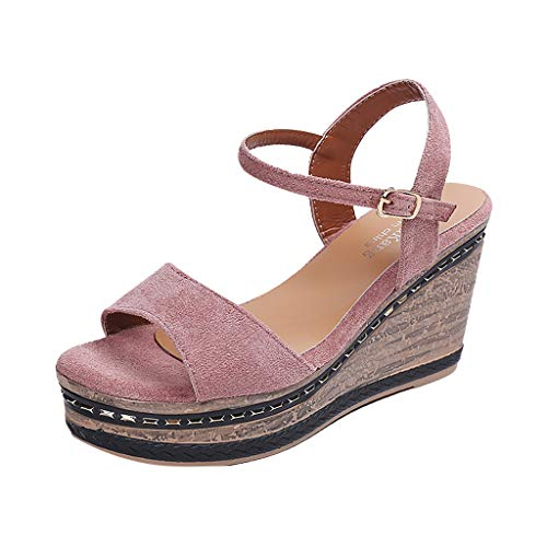 TIFENNY Women's Open-Toe Wedge Sandals Vintage Color Matching Suede High Heel Sandals Buckle Strap Wedge Shoes Pink