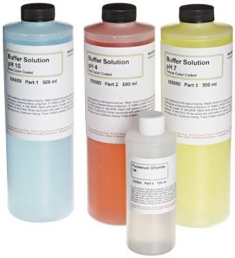 Innovating Science - pH Buffer Calibration Kit - 16.9oz (500mL) of each pH 4, 7, 10 and 4oz. (120mL) of Potassium Chloride